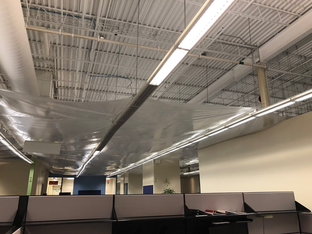 Partial Office Ceiling containment tarping