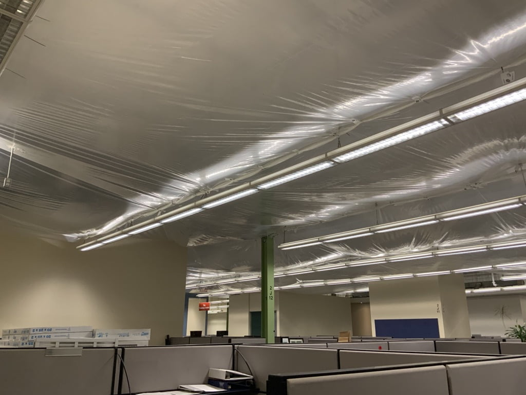 Finished office ceiling containtment tarping