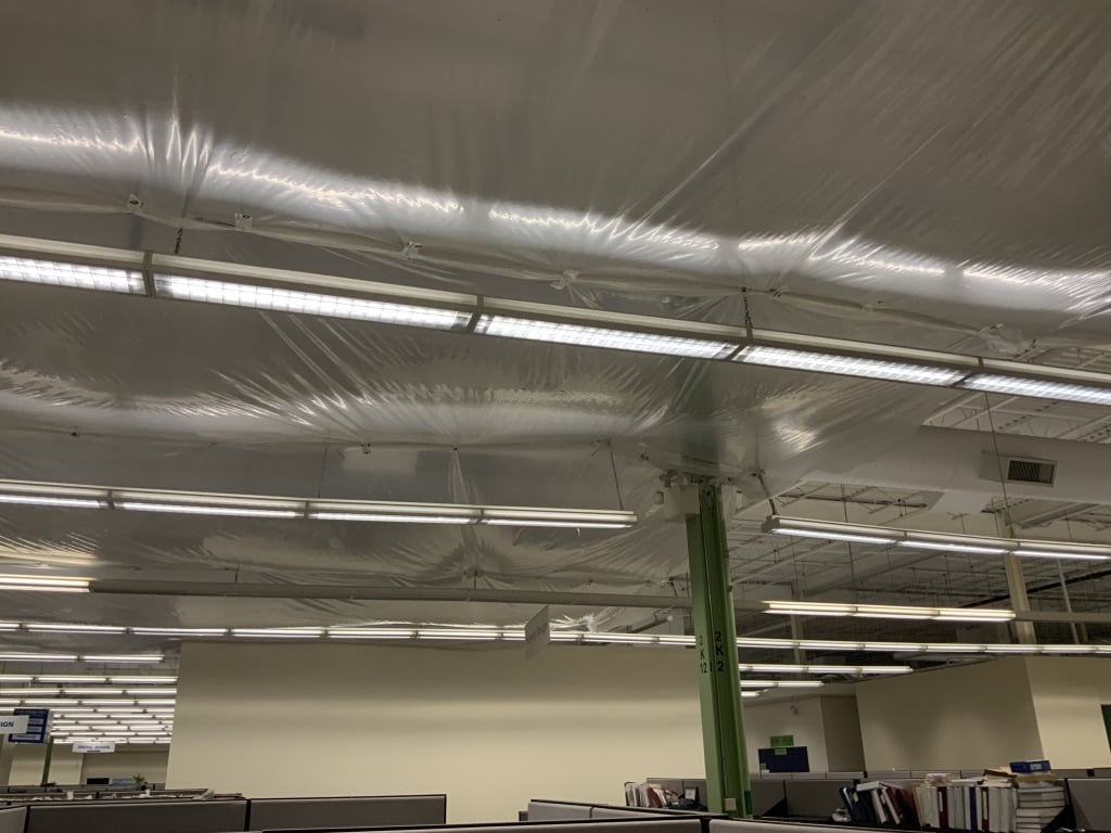 Final ceiling containment waterproofing job